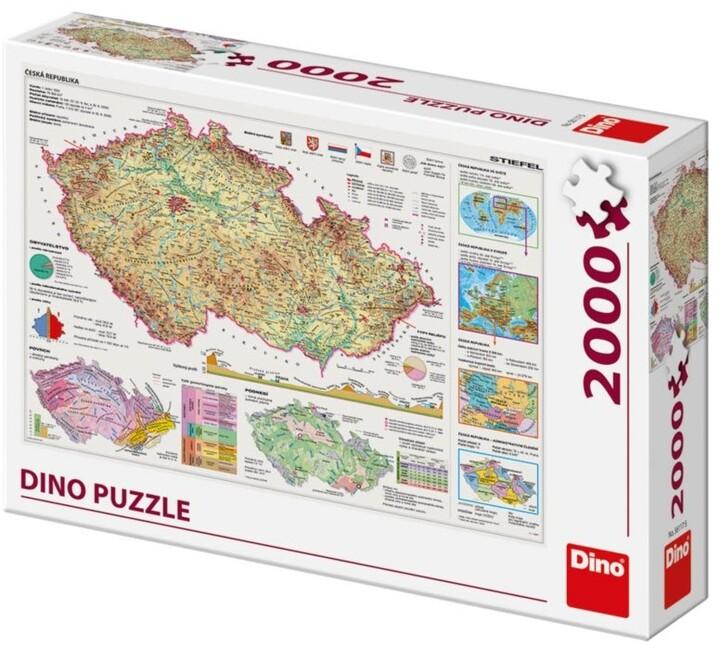 Puzzle Dino Mapy České Republiky, 2000 dílků