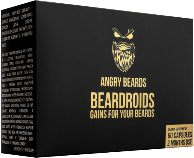 Angry Beards Beardroids vitamíny na růst vousů 60 kapslí