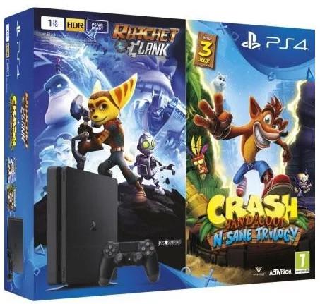 PlayStation 4 Slim, 500GB, černá + Crash Bandicoot + Ratchet & Clank