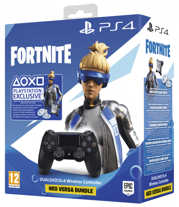 Sony PS4 DualShock 4 v2, černý + Fortnite (500 V-Bucks)