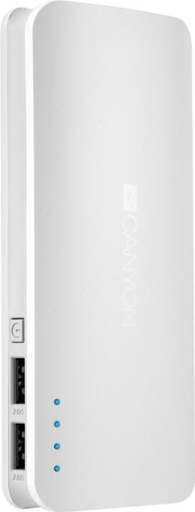 Canyon powerbanka 13000 mAh, micro USB input 5V/2A, USB output 5V/2,4A (max.), bílá