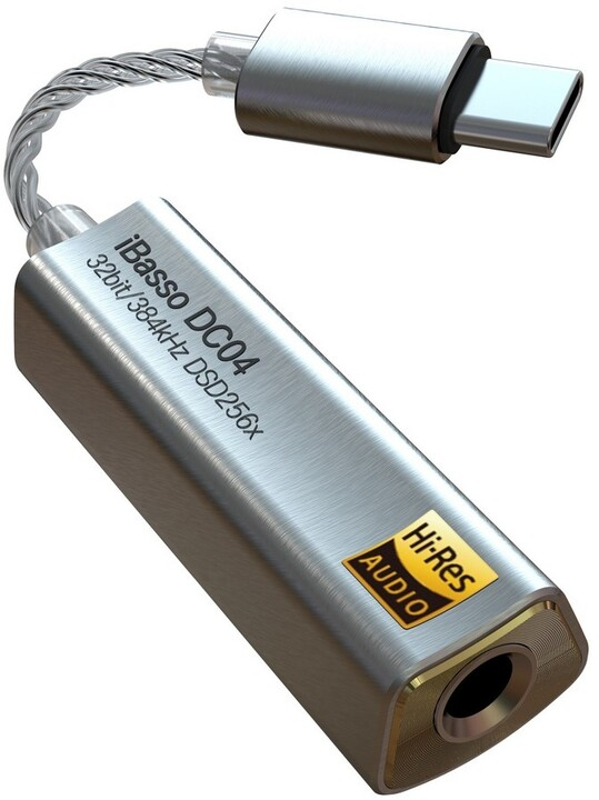 iBasso DC04, sluchátkový zesilovač s DA převodníkem, stříbrná