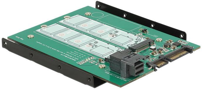 "Delock převodník 3.5"", SATA 22 pin / SFF-8643 NVMe > 1x M.2 NGFF Key M + 1x M.2 NGFF Key B"