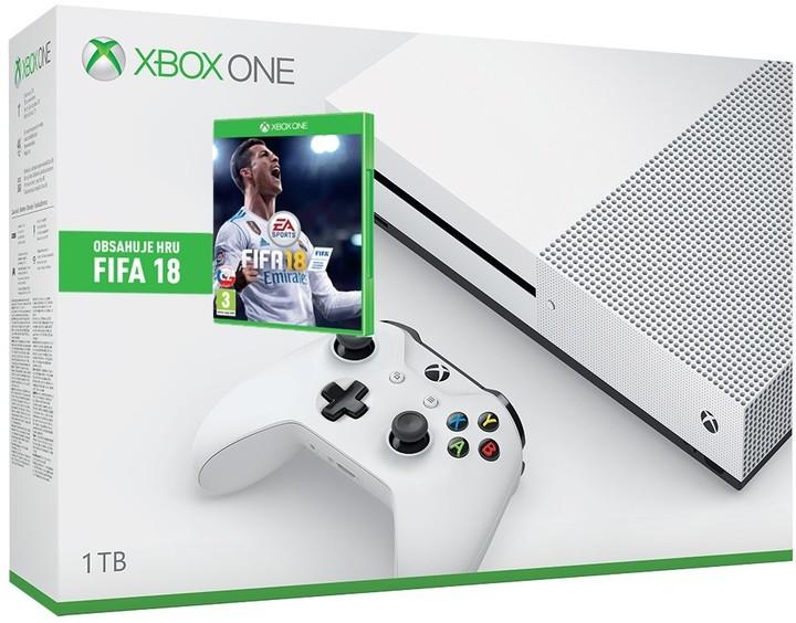 XBOX ONE S, 1TB, bílá + FIFA 18