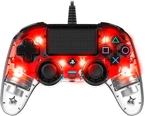 Nacon Wired Compact Controller, průhledný červený (PS4)