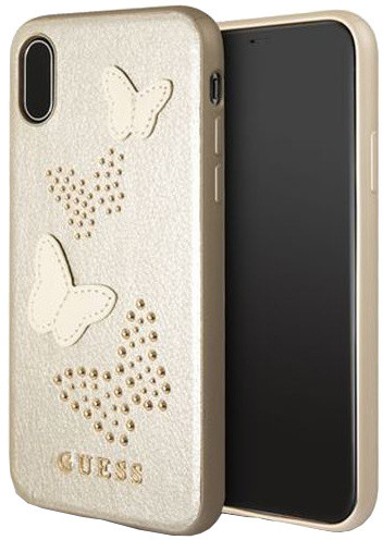 Guess Studs and Sparkle Zadní Kryt Beige pro iPhone X