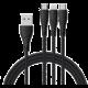 Mcdodo Peacock 3v1 Lightning + Micro USB + Type-C kabel s LED 1.2m, černá