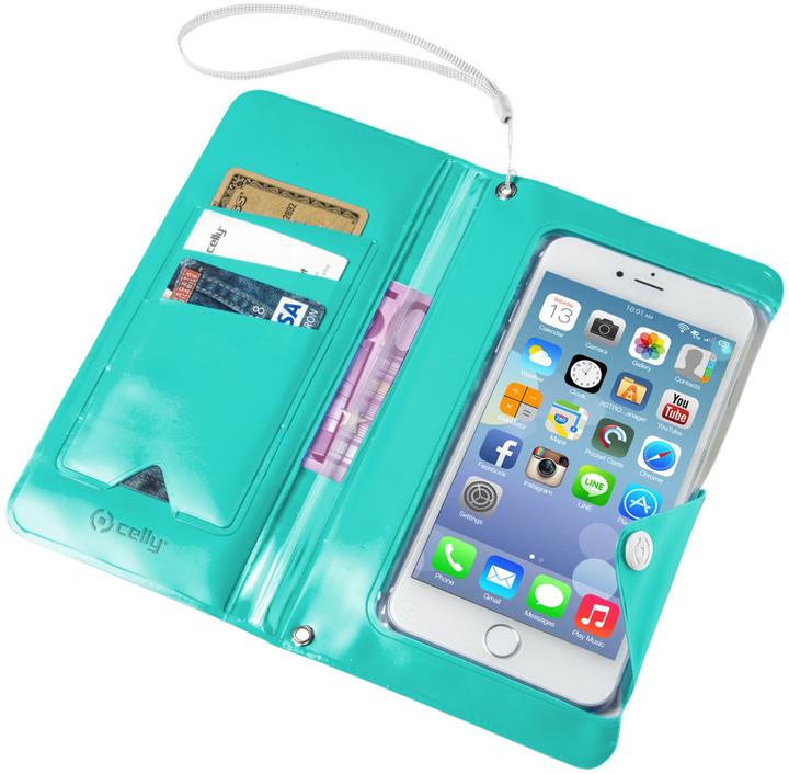 """CELLY Splash Wallet univerzální voděodolné pouzdro s peněženkou pro telefony 5,7 """", tyrkysové"""