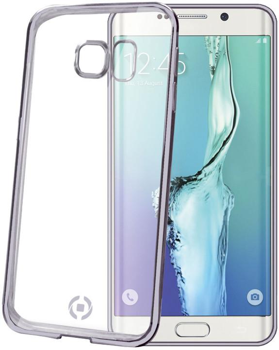 CELLY pouzdro Laser, lemování s kovovým efektem pro Samsung Galaxy S6 Edge Plus, TPU - černá