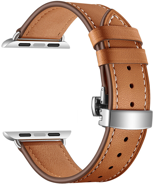MAX kožený řemínek pro Apple Watch 4/5, 40mm, hnědá