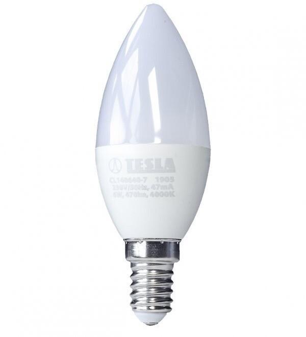 TESLA LED žárovka CANDLE svíčka, E14, 6W, 4000K, denní bílá