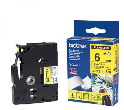 Brother TZE-FX611, žlutá / černá, 6mm