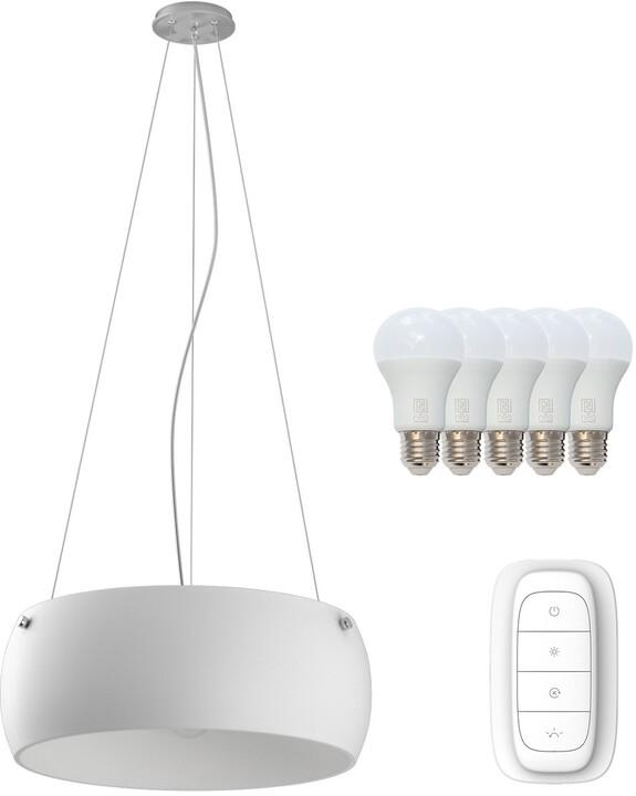 IMMAX NEO OPTICO závěsné svítidlo bílé sklo 50cm včetně Smart zdroje 5xE27