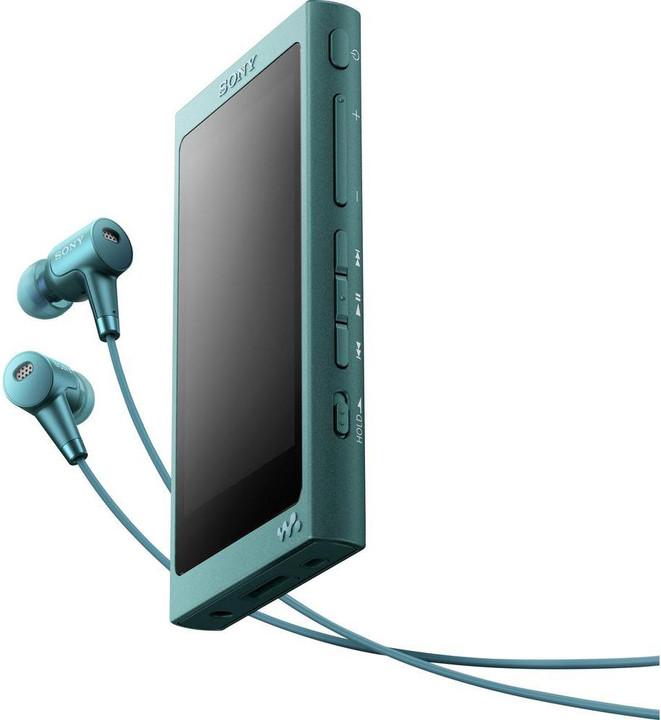 Sony NW-A35, 16GB + sluchátka, modrá