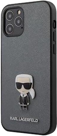 Karl Lagerfeld ochranný kryt Saffiano Iconic pro iPhone 12 Pro Max, stříbrná