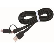 Gembird CABLEXPERT kabel USB COMBO, MicroUSB + lightning, 1m, černá - CC-USB2-AMLM2-1M