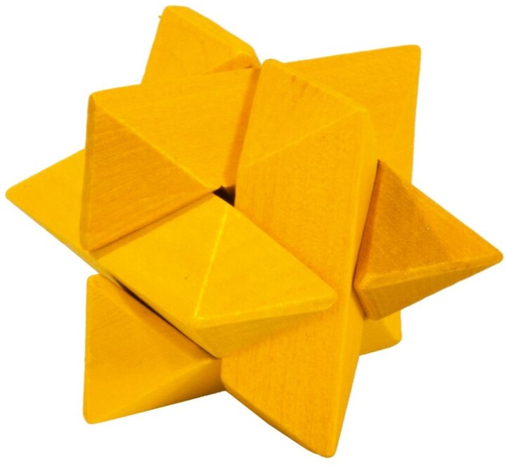 Hlavolam - Wooden puzzle Star, yellow