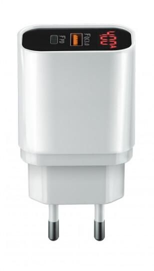 Forever CORE nabíječka USB QC 3.0 a USB-C PD, 20W, digitální displej, bílá