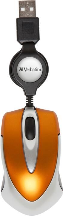 Verbatim Go Mini Optical Travel Mouse, oranžová