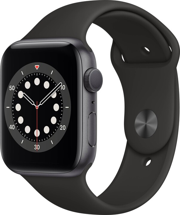 Apple Watch Series 6, 44mm, Space Gray, Black Sport Band