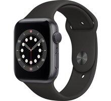 Apple Watch Series 6, 44mm, Space Gray, Black Sport Band  + O2 TV s balíčky HBO a Sport Pack na 2 měsíce (max. 1x na objednávku)