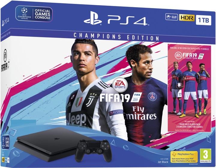 Konzole Sony PS4 Slim, 1TB, černá + FIFA 19 Champions Edition v hodnotě 8 990 Kč