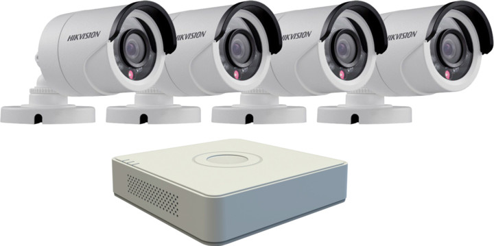 Hikvision DS-7104HQHI-F1/N, 4-kanálový AHD DVR + 4x DS-2CE16D0T-IRP kamera FHD1080p, IP66, 3,6m