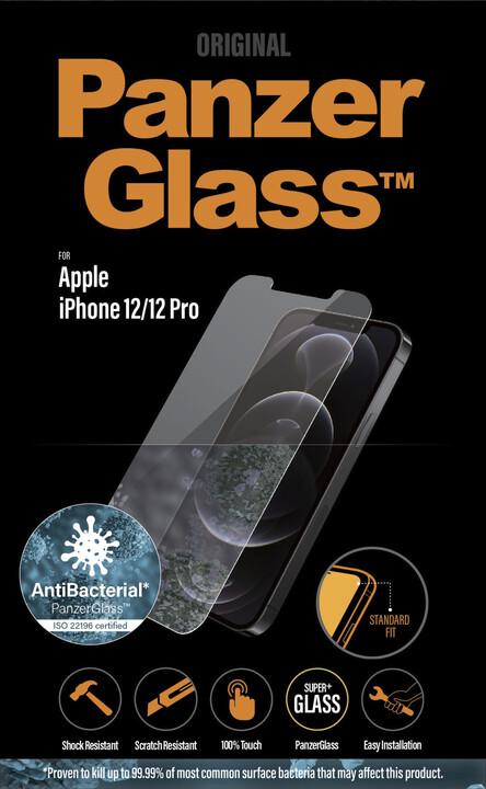 """PanzerGlass ochranné sklo Standard pro Apple iPhone 12/ 12 Pro 6.1"""", antibakteriální, 0.4mm, čirá"""