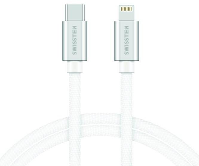 SWISSTEN textilní datový kabel USB-C - Lightning, 1,2m, stříbrný