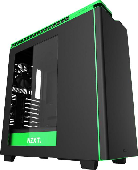 NZXT H440, okno, černá/zelené pruhy