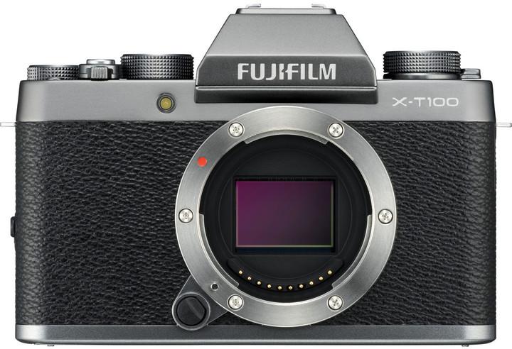 Fujifilm X-T100, tělo, stříbrná