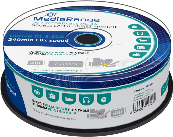 MediaRange DVD+R 8,5GB DL 8x, Printable, 25ks Spindle
