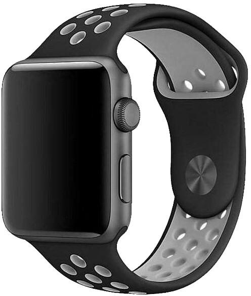 COTEetCI řemínek Sports Dot pro Apple Watch, silikonový, 38 - 40mm, černo/šedá