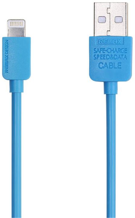 Remax USB datový kabel s lightning konektorem pro iPhone 5/6, 1m, modrá