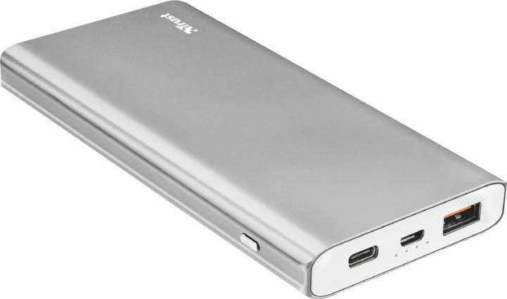 Trust Omni Thin metal PowerBank USB-C QC3 10000 mAh, stříbrná