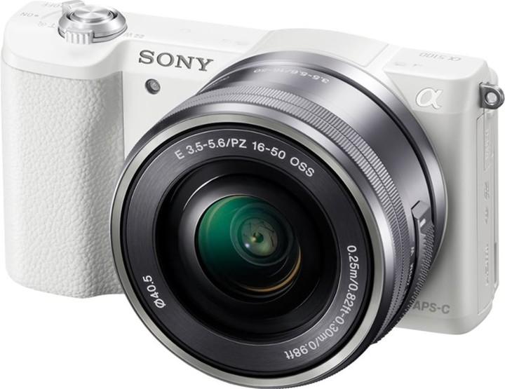 Sony Alpha 5100 + 16-50mm, bílá