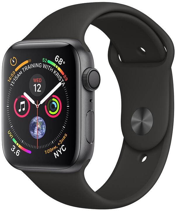 Apple Watch series 4, 40mm, pouzdro z vesmírně šedého hliníku/černý řemínek