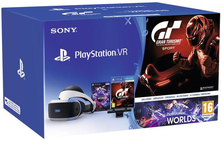 PlayStation VR v2 + Kamera v2 + Gran Turismo Sport + VR Worlds