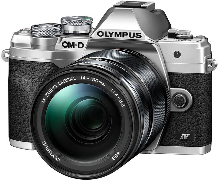 Olympus E-M10 Mark IV 14-150mm Kit, stříbrná