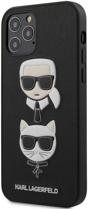 """KARL LAGERFELD ochranný kryt Saffiano K&C Heads pro iPhone 12/ 12 Pro (6.1""""), černá"""