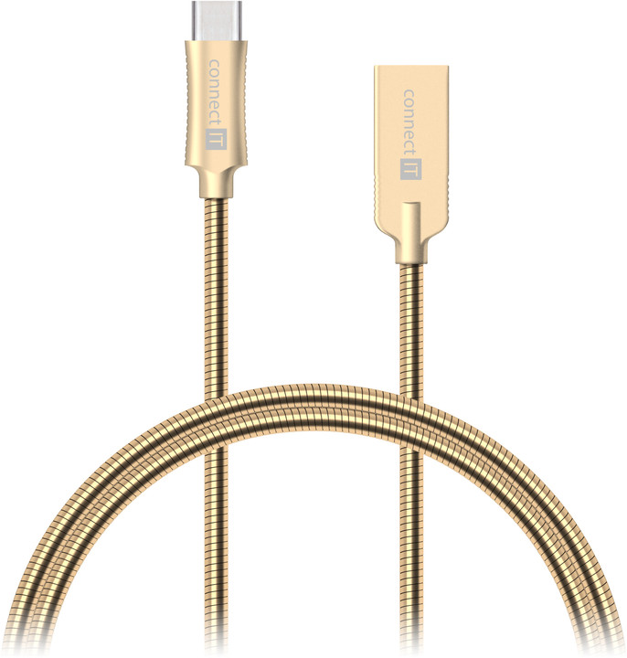 CONNECT IT Wirez Steel Knight USB-C (Type C) - USB-A, metallic gold, 2,1A, 1 m