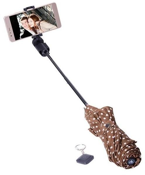 Papaler selfie slunečník a deštník - hnědý s puntíky (v ceně 599,-)