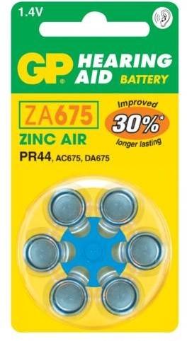 GP, ZA675, baterie do naslouchadel, 6ks