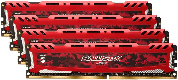 Crucial Ballistix Sport LT Red 32GB (4x8GB) DDR4 2666