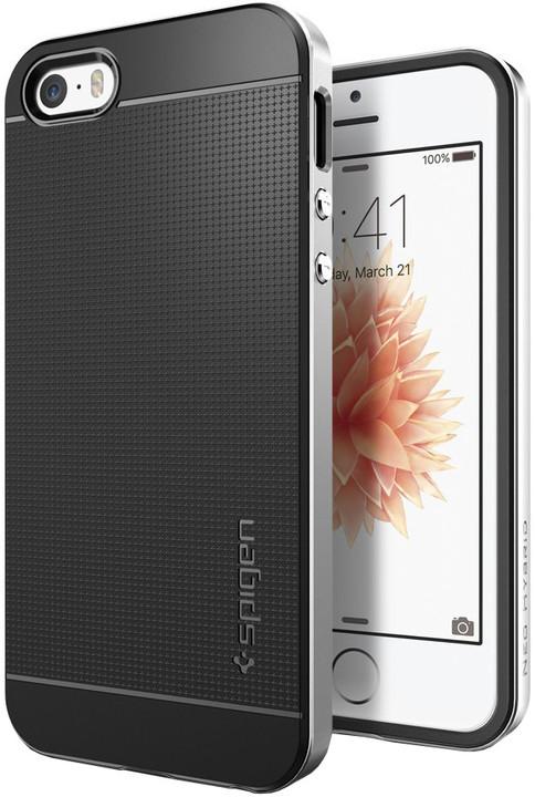 Spigen Neo Hybrid kryt pro iPhone SE/5s/5, stříbrná