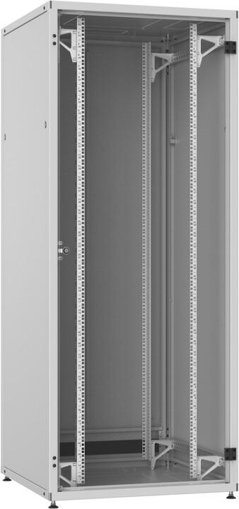 Solarix LC-50 42U, 800x1000 RAL 7035, skleněné dveře, 1-bodový zámek