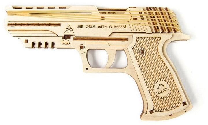 UGEARS stavebnice - Pistol Wolf-01, dřevěná, mechanická