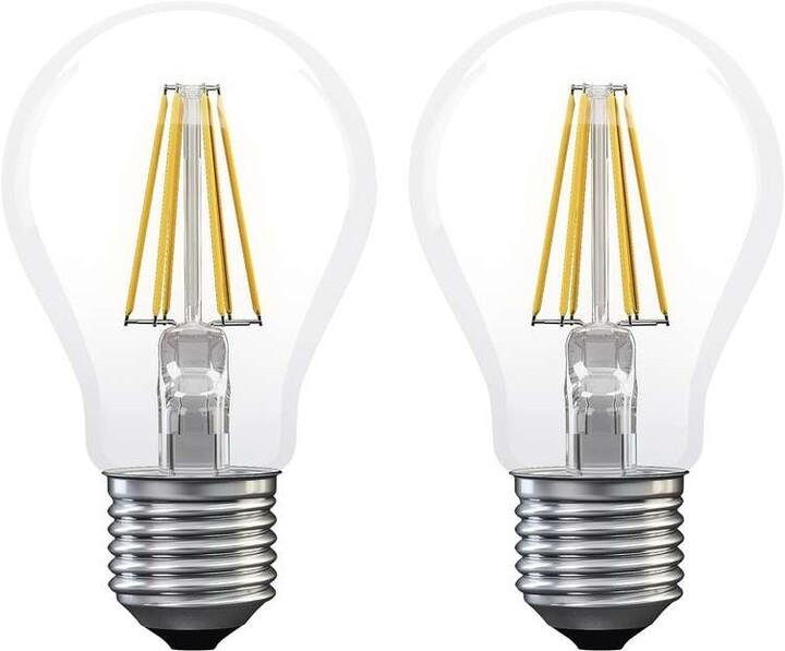 Emos LED žárovka Filament A60 E 6W E27 2ks, teplá bílá