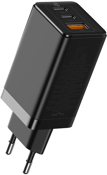 Baseus síťová nabíječka GaN2 Pro, 2xUSB-C, USB-A, QC, Fast Charging, 60W, černá
