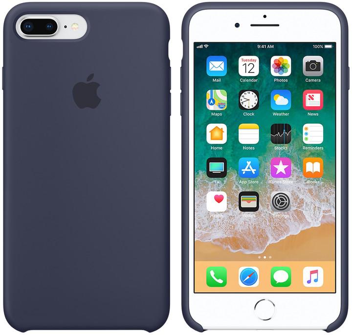 Apple silikonový kryt na iPhone 8 Plus / 7 Plus, půlnočně modrá